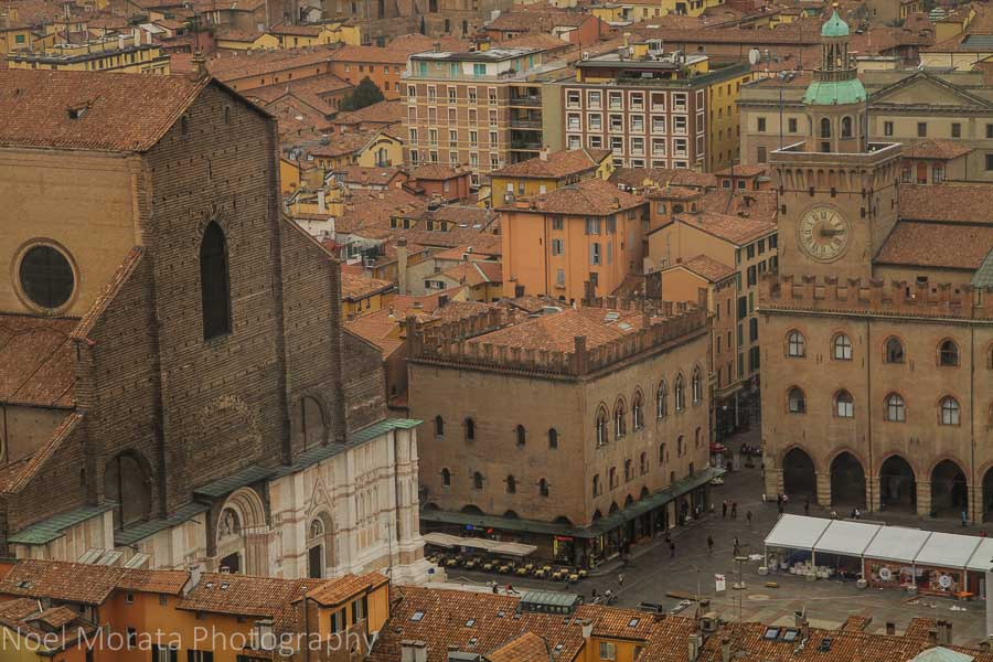 A view of Piazza Maggiore from the Asinelli tower