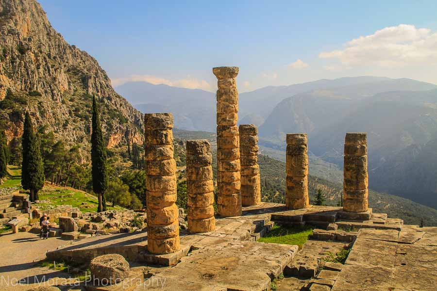 Looking below to the Oracles of Delphi and the temple of Apollo