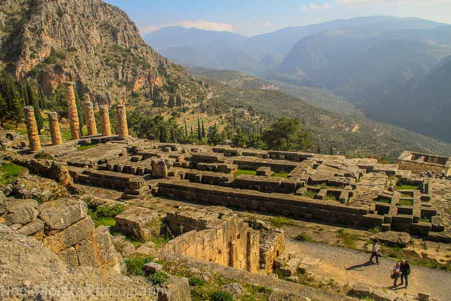 Looking down at the Oracles of Delphi and the temple of Apollo