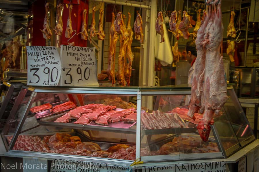 Meat vendor at the Thessaloniki Central Market