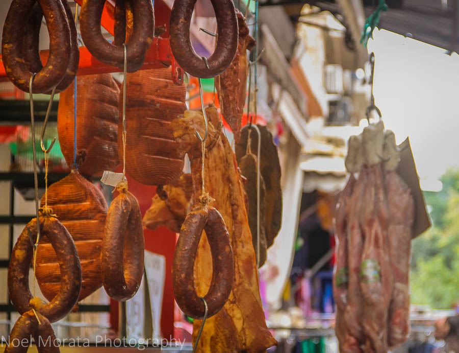 Cured meats and sausage for sale at the Thessaloniki Central Market