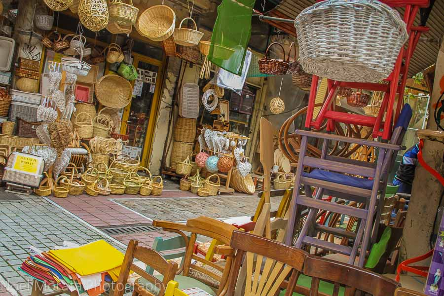 Chairs and woven products produced locally in Thessaloniki region