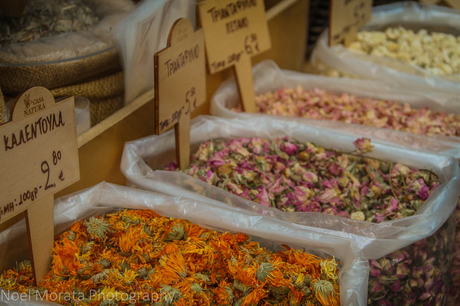 Dried flowers and herbs for sale at a specialty market in Thessaloniki