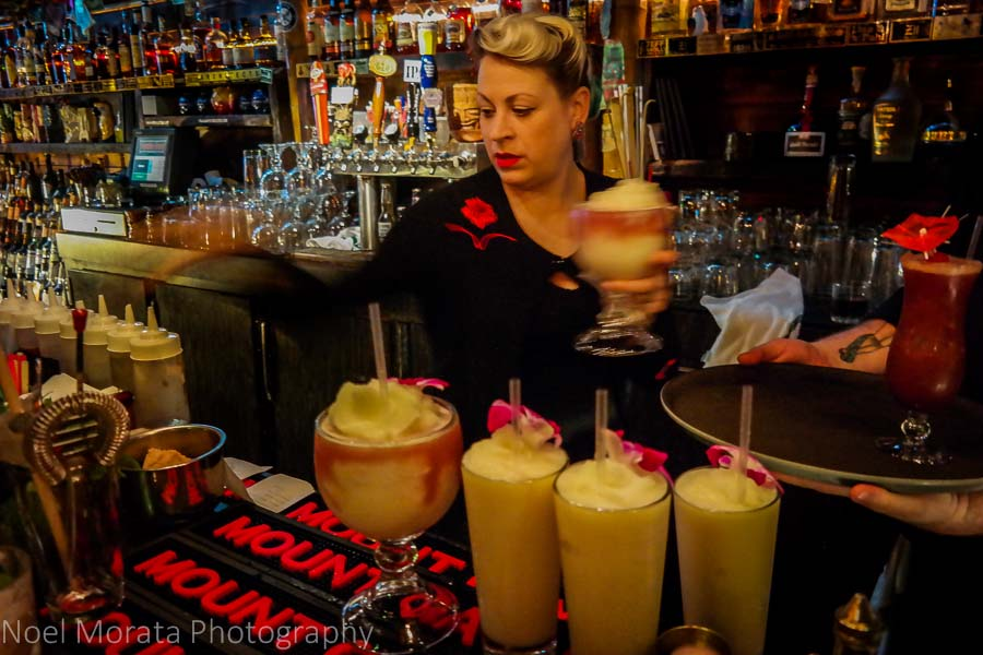 Serving up some fruity drinks at Forbidden Island