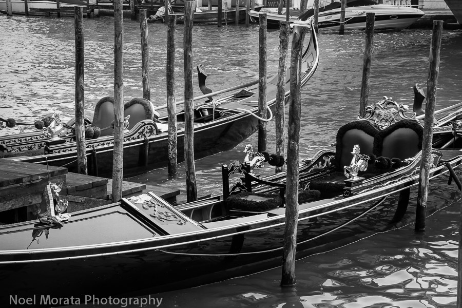 Venice gondolas in black and white