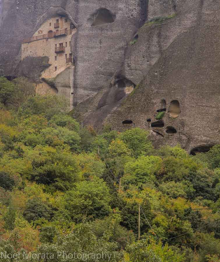 Abandoned monastery set in a cliff in Meteora