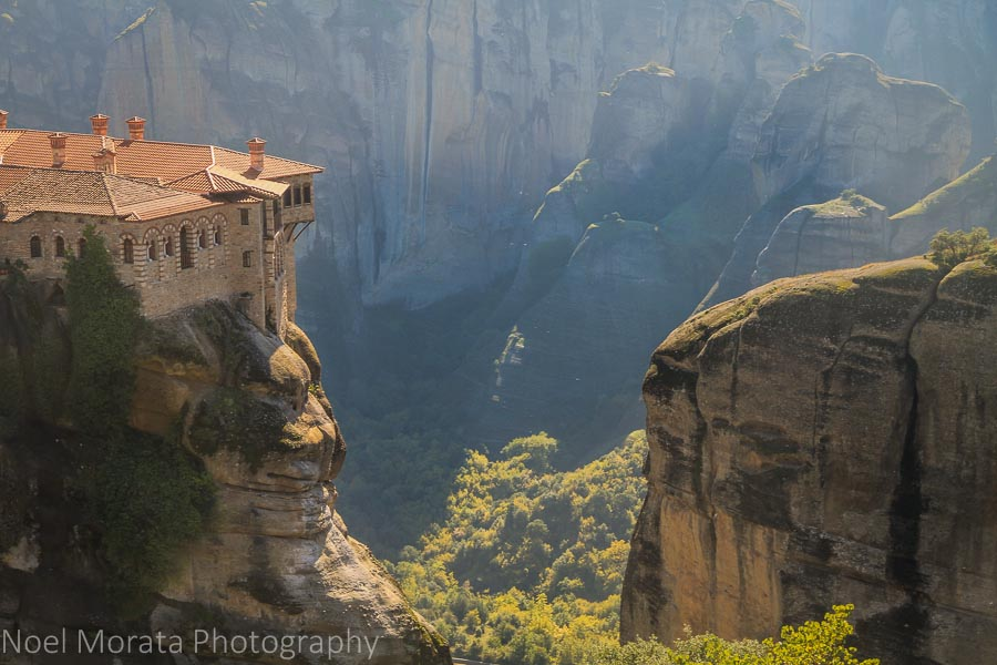 Close up detail of Varlaam monastery in Meteora
