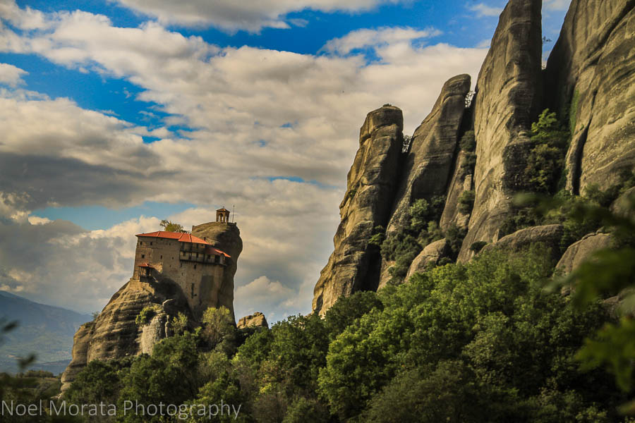 A solitary monastery fronts these huge stone facades at Meteora