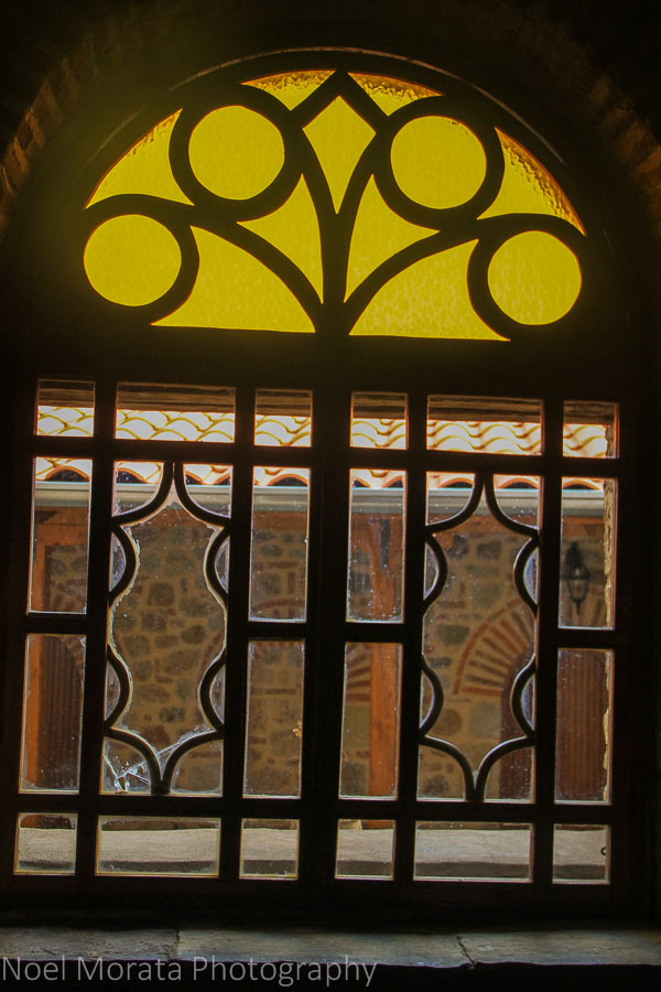 Stain glass visiting a monastery in Meteora