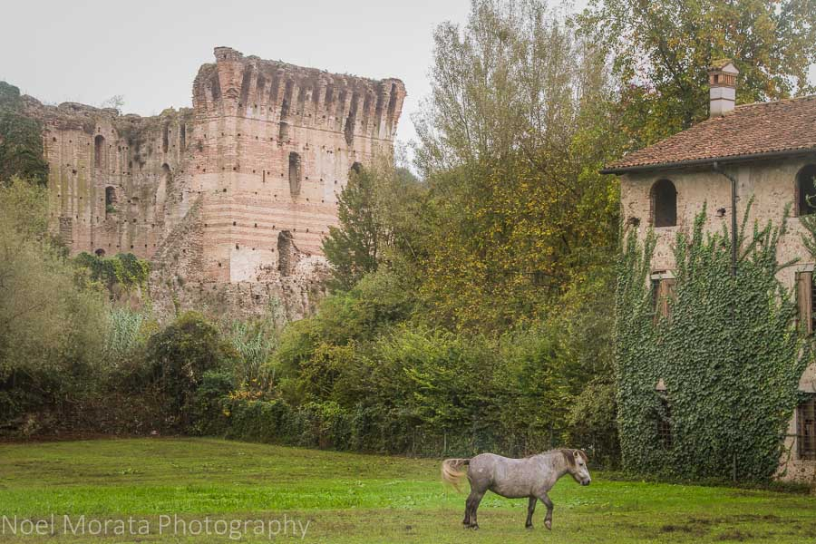 A crumbling tower at Borghetto, Italy