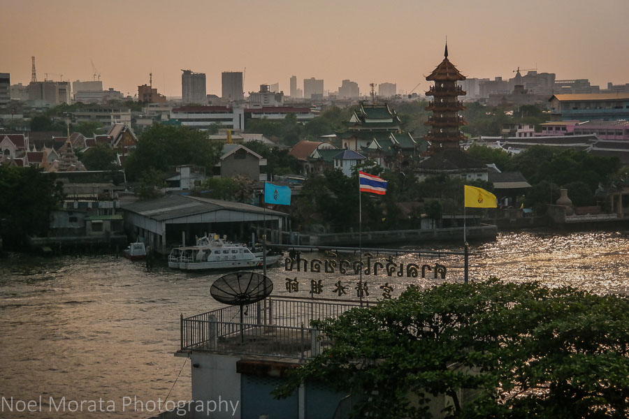Sunset views overlooking the Chao Phraya river in Bangkok
