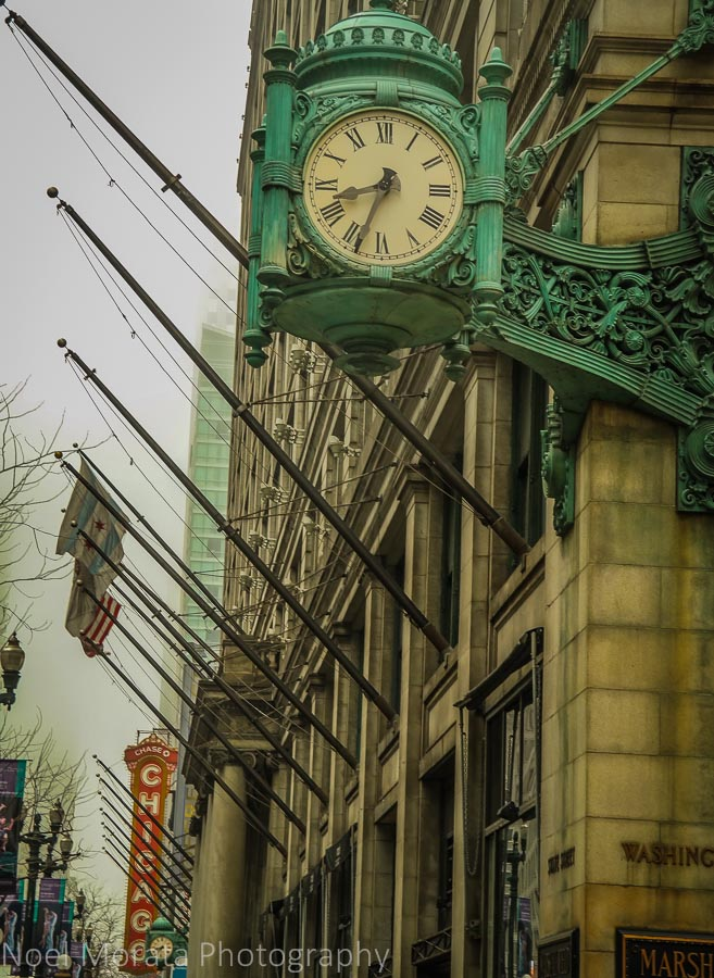 Clock details on a Chicago street