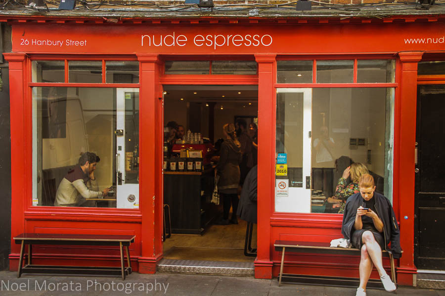 Coffee scene in East End, London