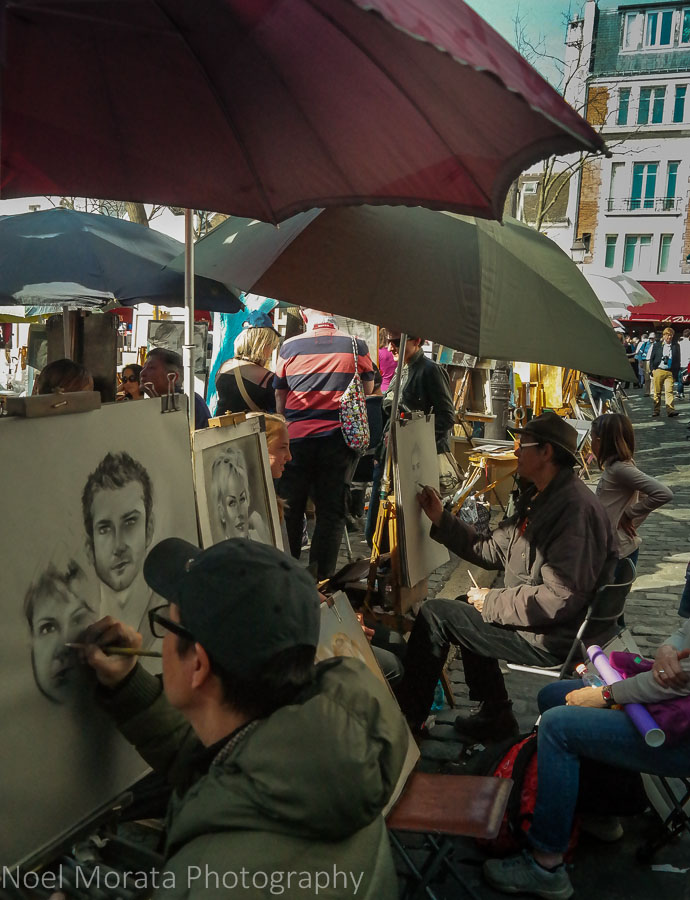 Portrait studies from various artists in Montmarte, Paris
