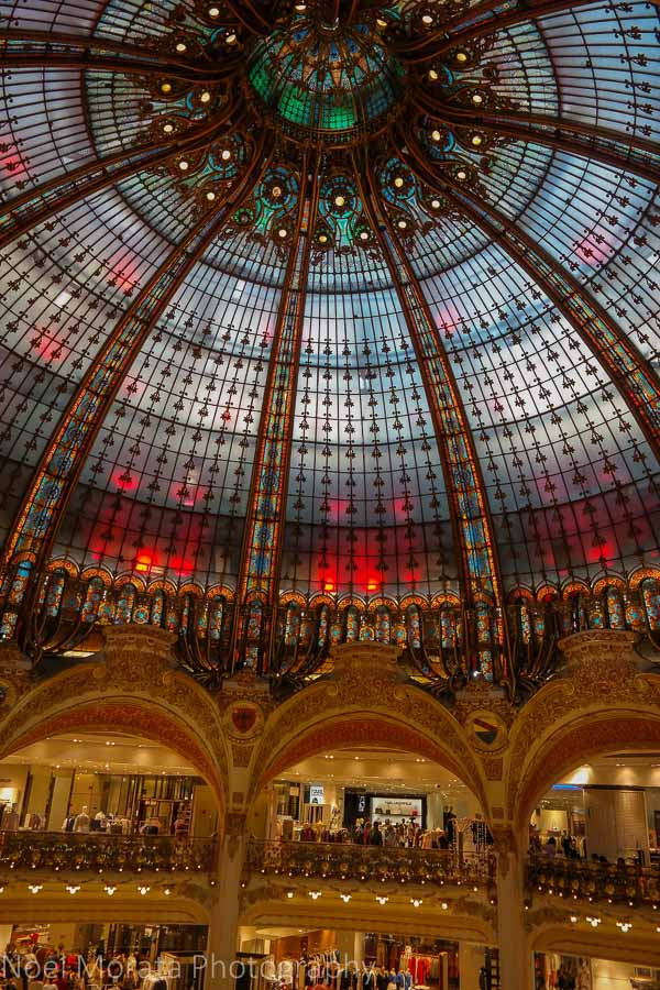 Beautiful domed interior of the Galleries Lafayette, Paris
