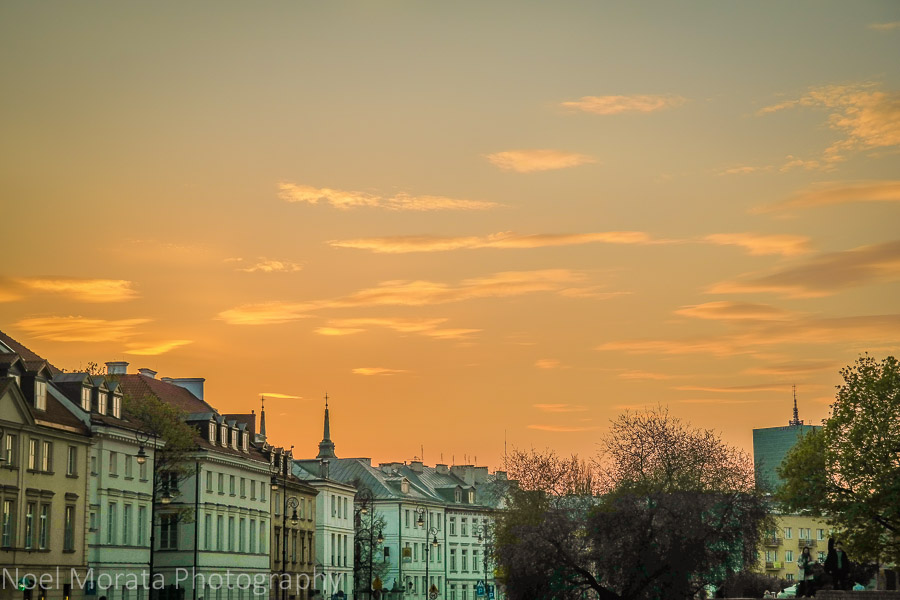 Sunset and touring the old central district of Warsaw