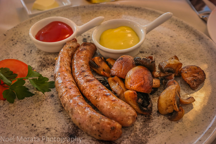 Sausage entrée from the breakfast menu, Hotel Rialto