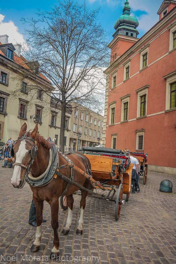 Horse drawn carriages while touring Warsaw and the old town