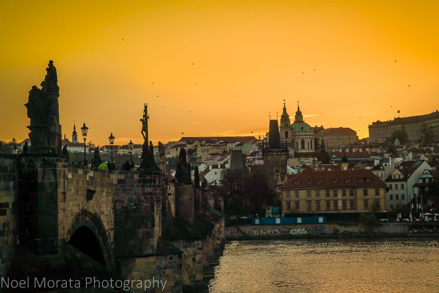 15 stunning views of Prague - sunset over the Vltava overlooking the New town of Prague