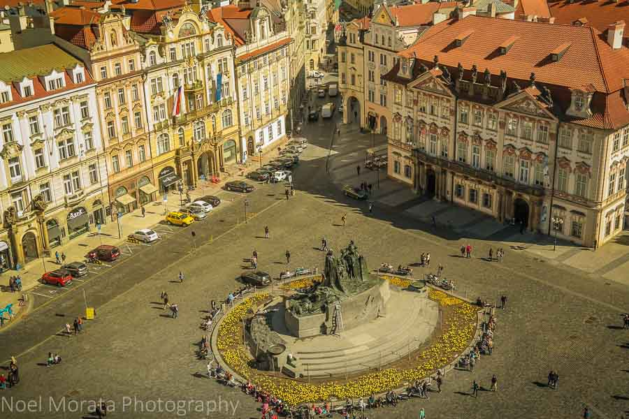 View from above at the Old town tower in Prague