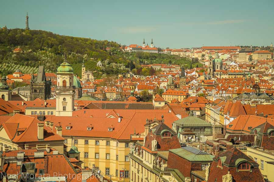 A scenic panorama of Prague from the Old town tower