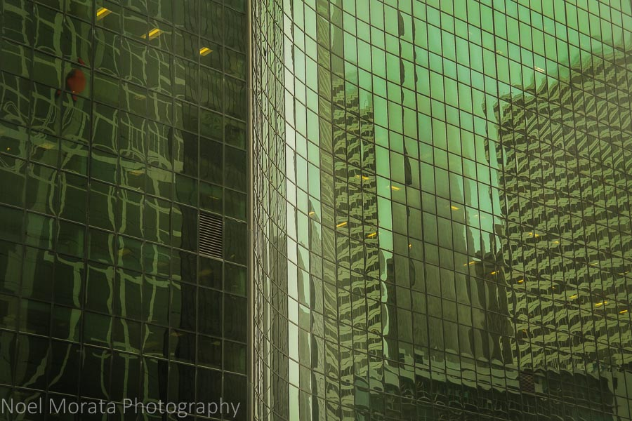Cool glass reflections of the Chicago skyline