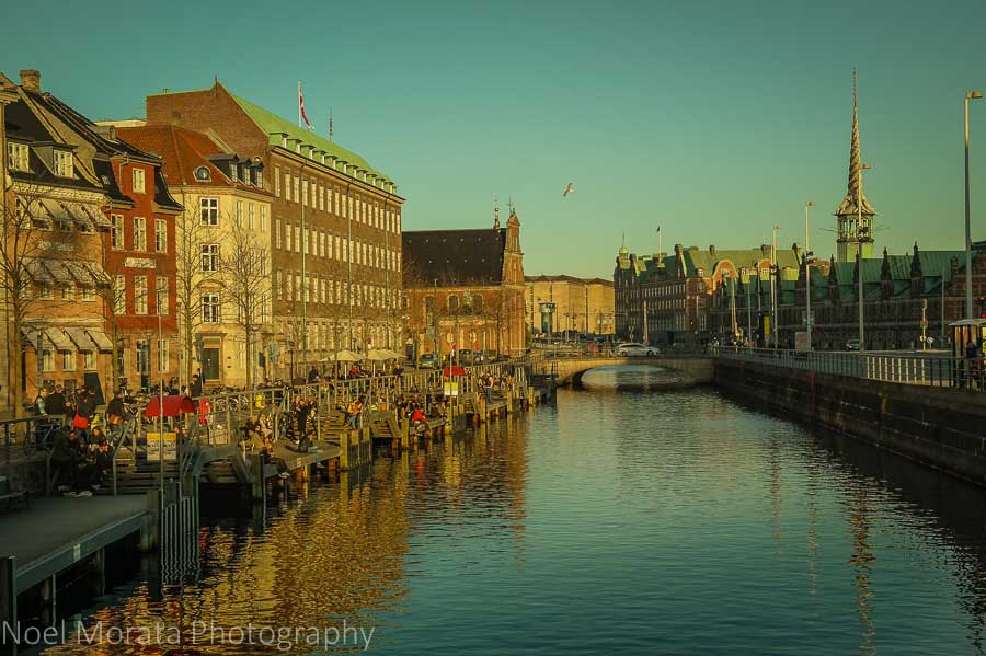 Canal views of Nyhaven and Slotsholmen, central Copenhagen