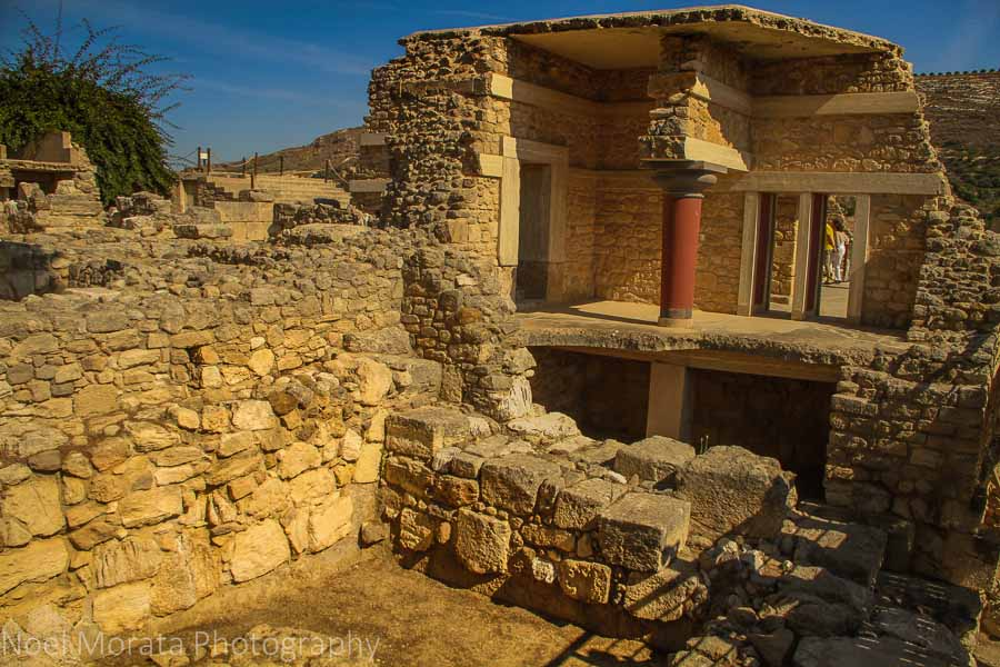 Exposed ruins and interior details at Knossos in Crete, Greece