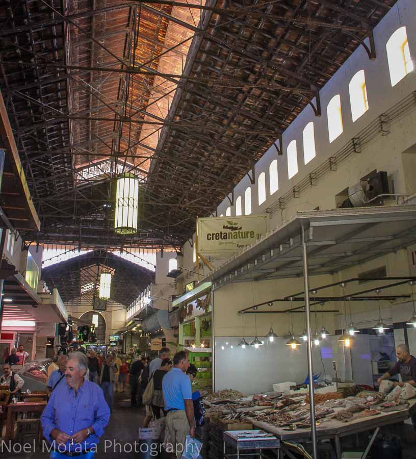 Inside the public market in Chania, Greece