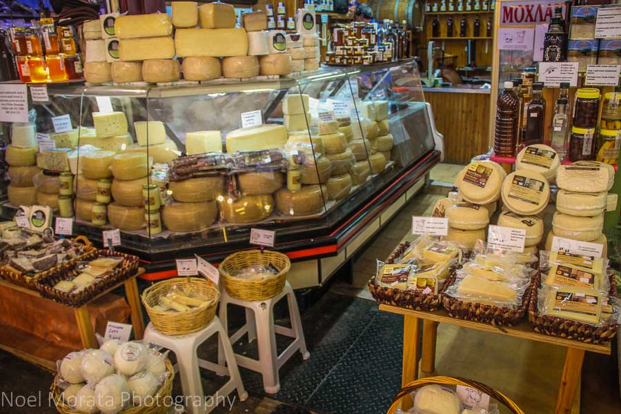 Cheese vendor inside the public market in Chania, Greece