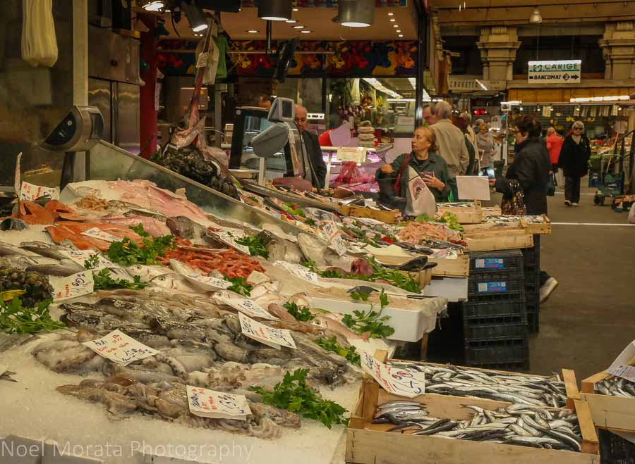 Seafood stands at Mercato Orientale, Genoa