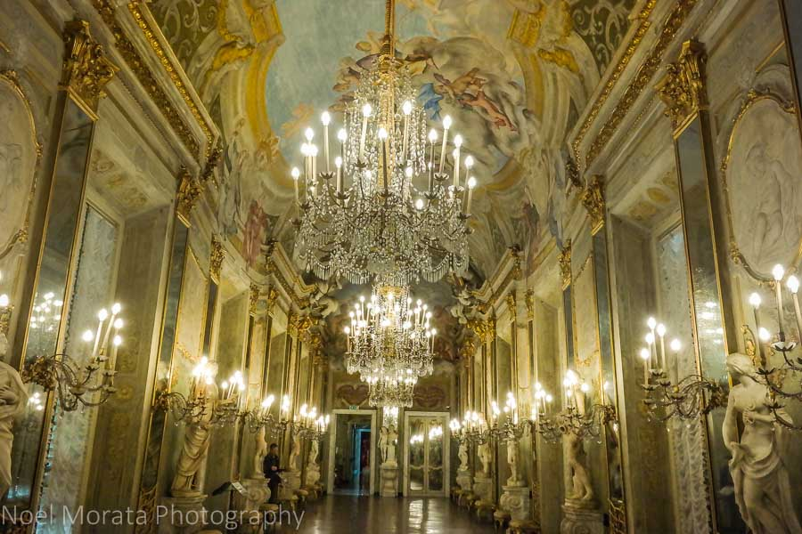 Hall of mirrors at the Palazzo Reale in Genoa, Italy