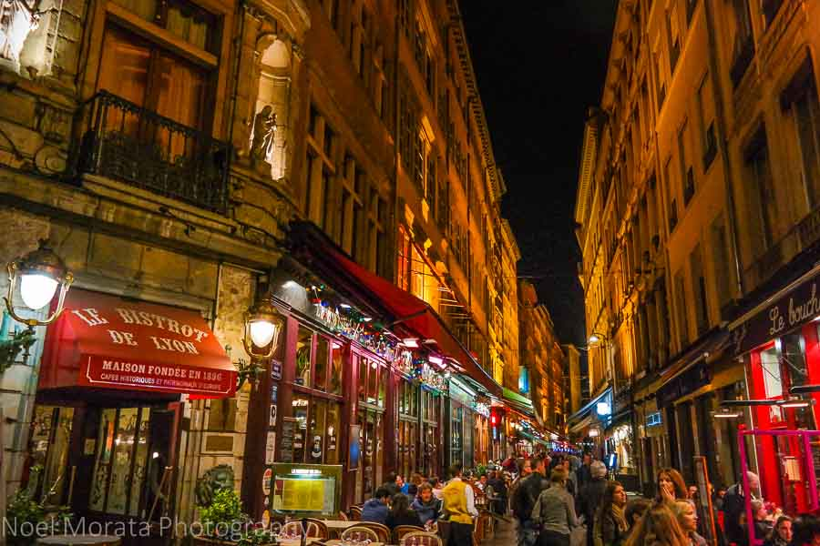 A walking promenade at night in Lyon, France