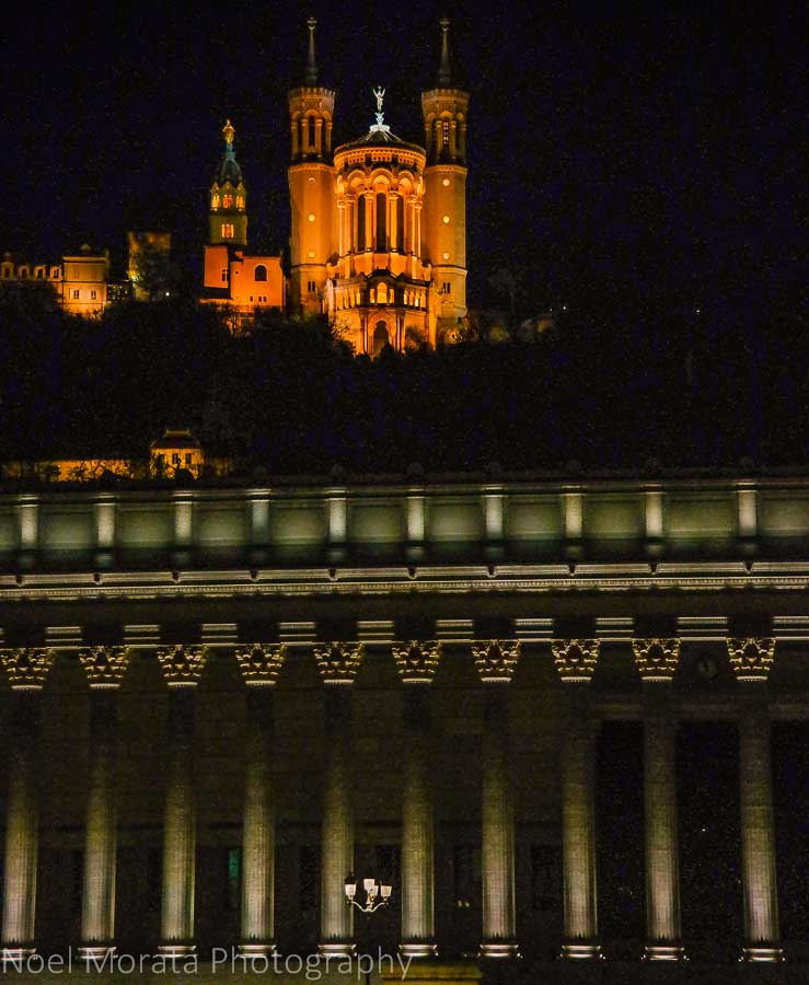 The Saone river at night, Lyon, France at night time