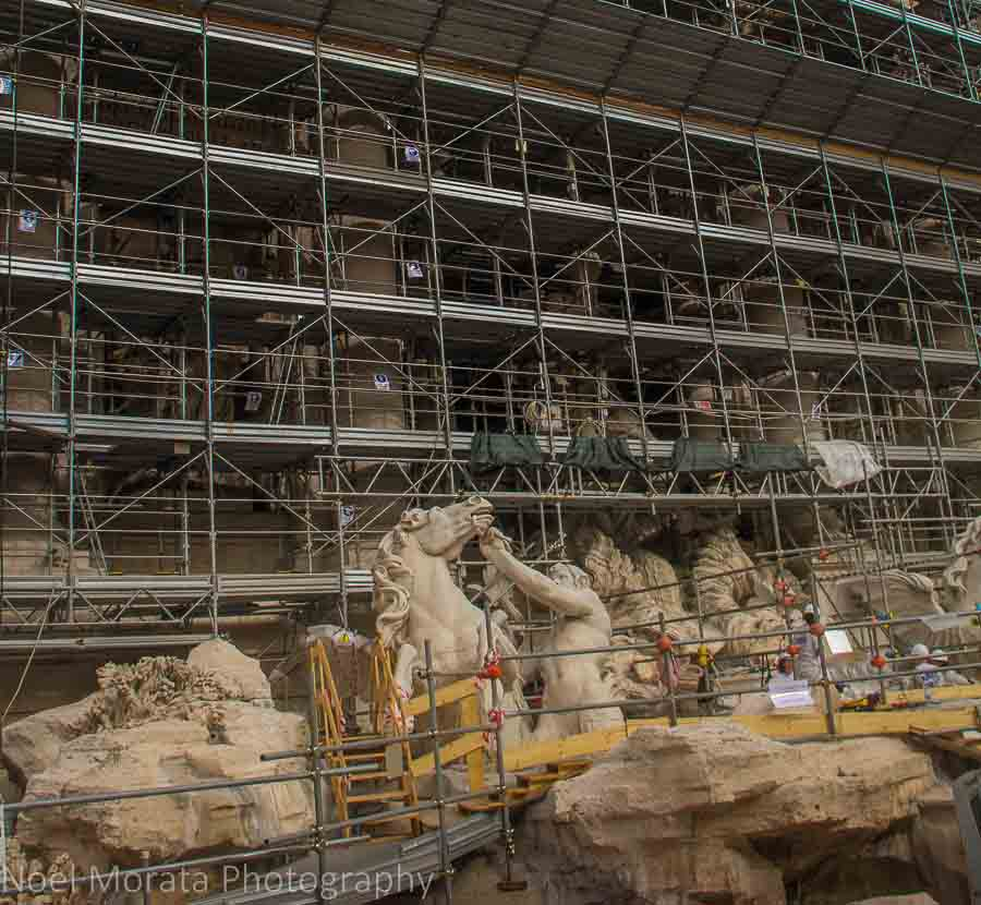 Trevi fountain reconstruction in Rome