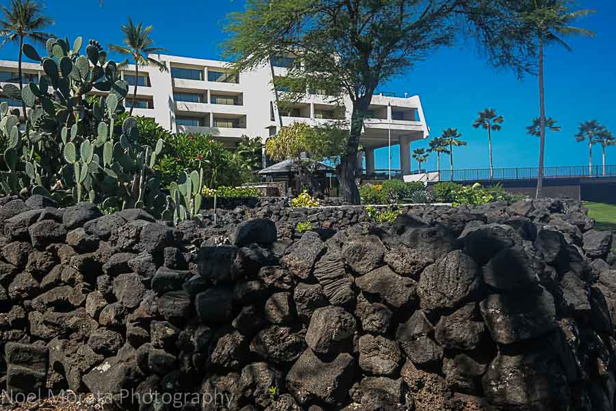 An ancient stone cattle pen on the grounds of the Sheraton Kona