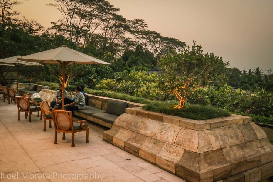 Outdoor patio and views at at Amanjiwo Borobudur
