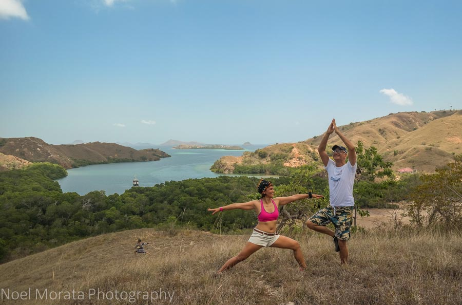 Yoga positions at the overlook on Rinca Island - Visiting Komodo National Park