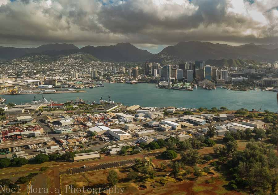 Flying above Honolulu harbor and city