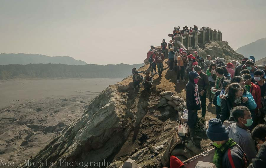 The rim of Bromo crater with hordes of tourists