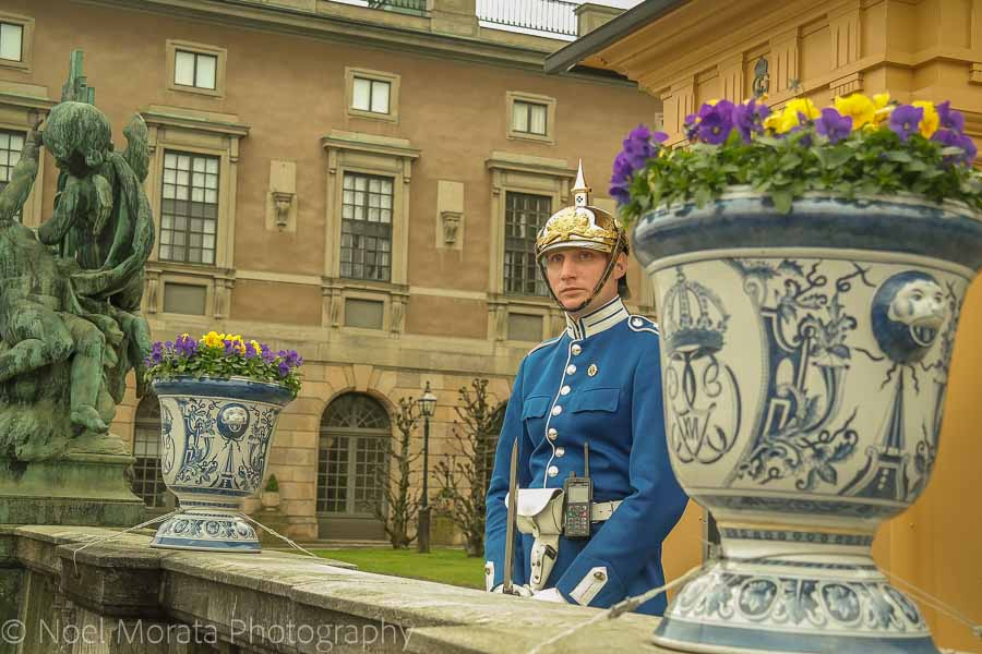 A guard on duty at Stockholm's royal palace in Gamla Stan