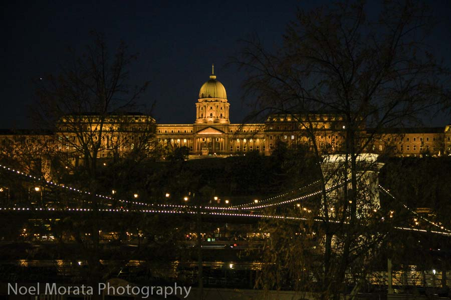 Night views of Buda Hill Castle from the Danube promenade in Budapest