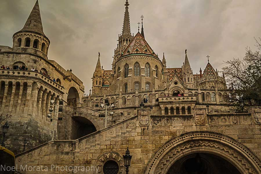 Looking up to Matthias church and Fisherman's Bastion - Budapest