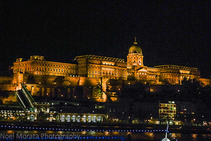Buda castle and National museum at night time Budapest