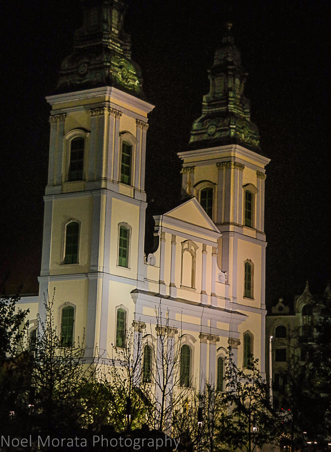 Budapest Pest basilica at night time by the Danube promenade