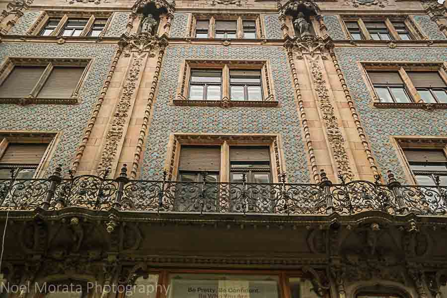 Beautiful architectural details on Vaci Street, Budapest