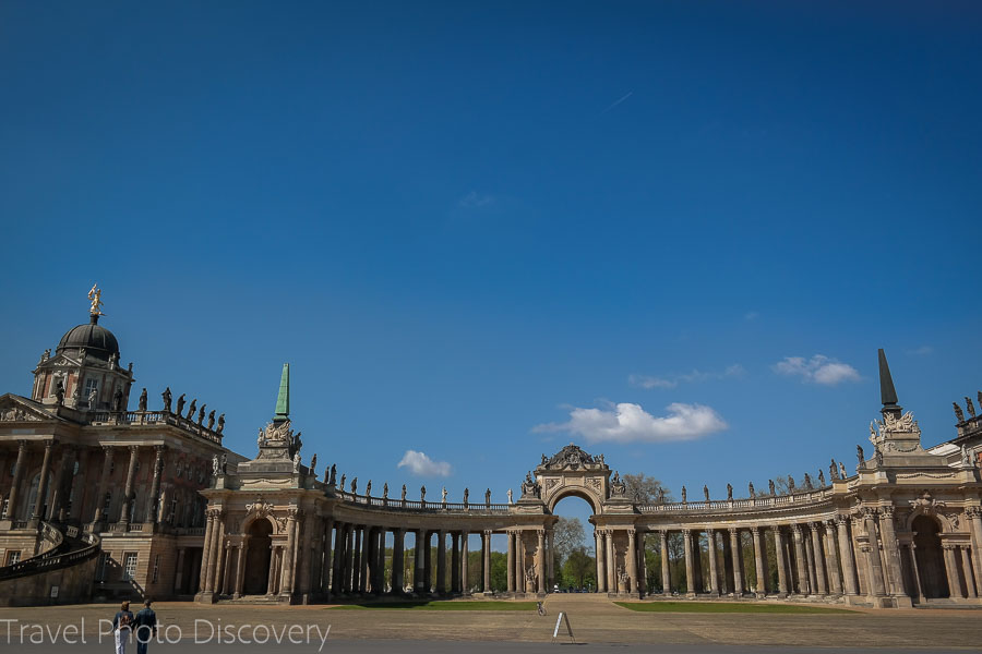 Grand courtyard entry at the Neues Palais in Sanssouci