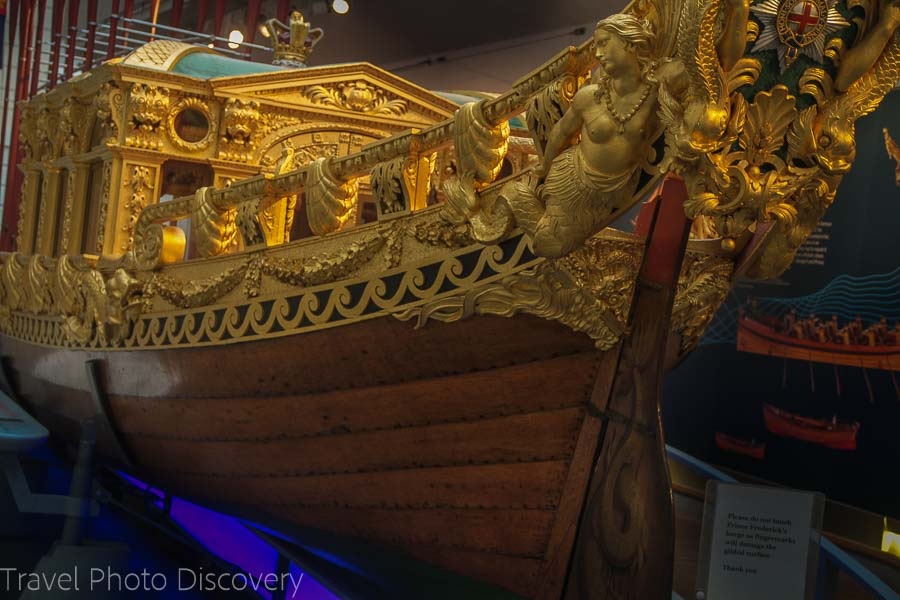 Ornate ship at the National Maritime Museum in Greenwich London