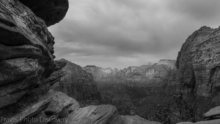Overlook trail canyon views Zion National Park Utah