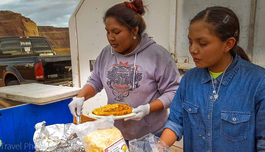 Indian taco style dinner Visiting and touring Monument Valley in Utah